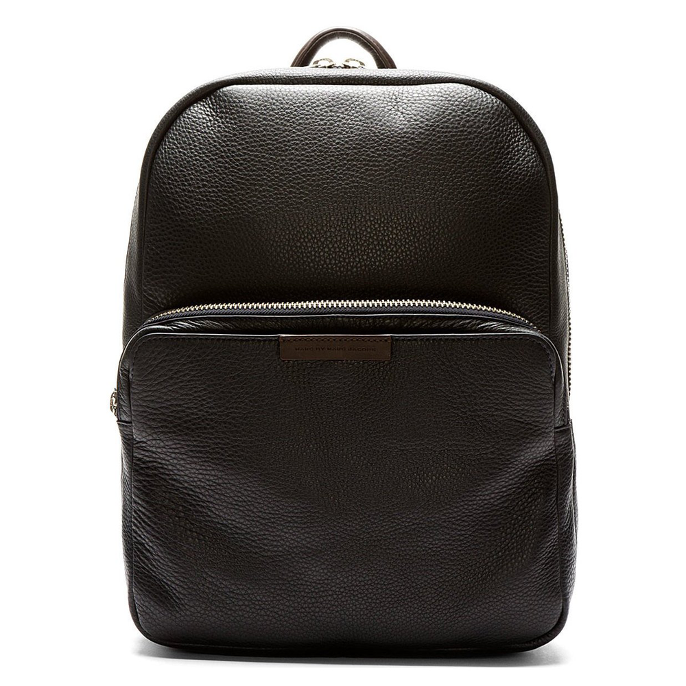 Blue-Black Grained Leather Backpack by Marc By Marc Jacobs - $500的图片