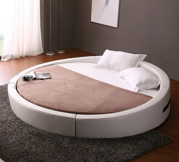 Opus Modern Round Leather Bed的图片