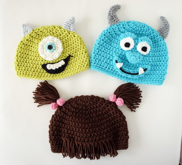 Monsters Hats, Mike, Sulley, Boo, Crochet Monster Hat, Crochet Baby Hat, photo prop, Inspired by Monsters Inc的图片