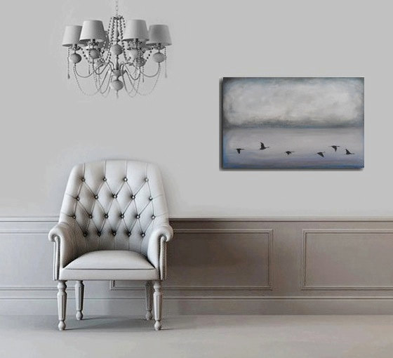 have gone from here - modernhouseart - landscape - oil and mixed media on wood - home decor - easy to hang的图片