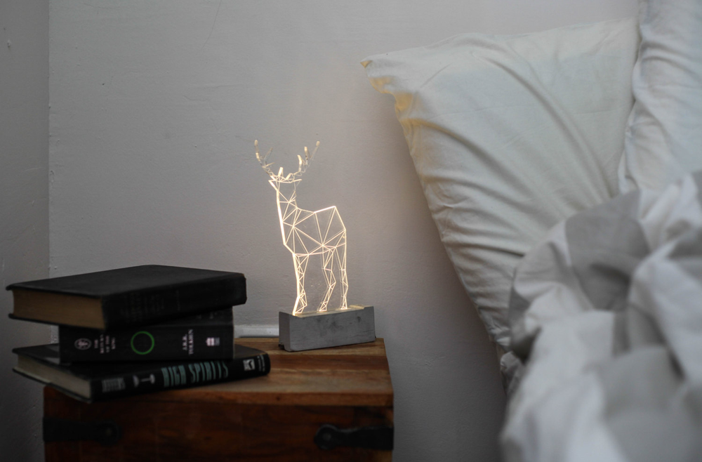 Large concrete deer lamp, bedside deer lamp, Deer nightlight(鹿形夜灯)的图片