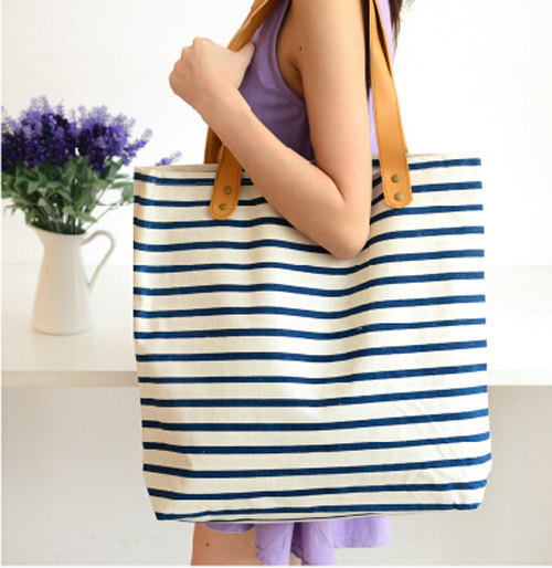 Women Stripes cotton bag, canvas shoulder bag, tote handbag, vacation beach bag, diaper bag, hobo everyday bag, wedding 的图片