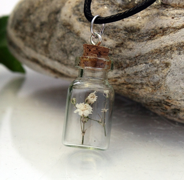Miniature dried white flower glass vial pendant- Gypsophila Baby's Breath spray- Spring jewellery- Wholesale and wedding favours available