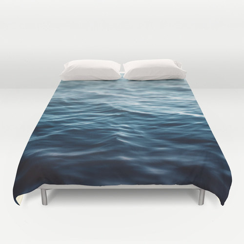 Duvet Cover, Deep Ocean Blue Coastal Waters Bedding Cover, Nautical Loft Cottage Home Beach Surf Decor Cobalt Blue Bedro