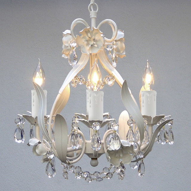 Crystal prisms Girls room Floral ITALY 4 light SOLID White finish Chandelier +的图片
