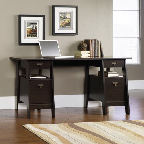 Executive Trestle Computer Desk - Jamocha Espresso Finish的图片