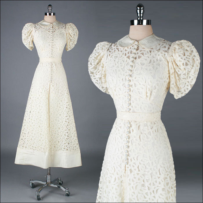 vintage 1930s dress . ivory battenburg lace . sheer over slip . belt . 3311