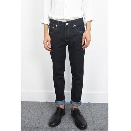 原色黑色修身小脚牛仔裤 男 acne apc all saints j crew 风格