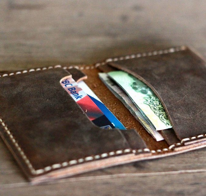Distressed Leather Bifold Wallet #10 - $29