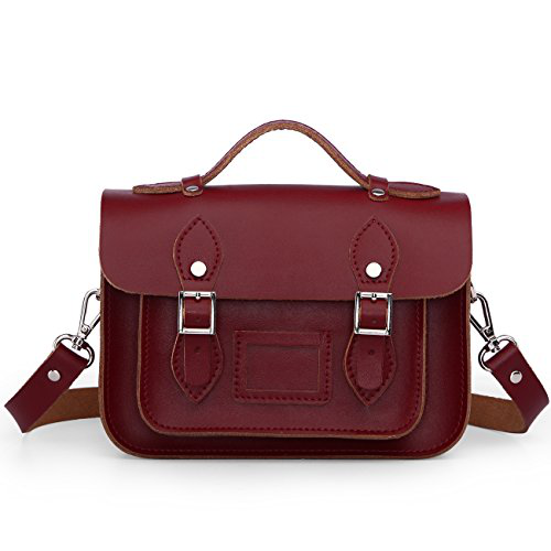 Damai Retro Mini Genuine Leather Cross Body Bag-8.5 Inch (Wine Red)