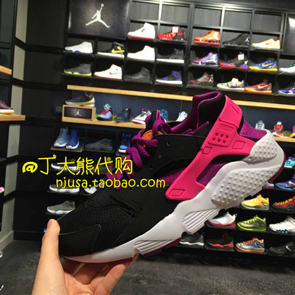 美国代购 Nike Air Huarache Run GS 黑粉 女鞋 654280-001