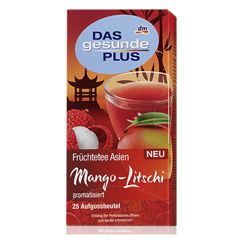 DAS GESUNDE PLUS FRUIT ASIA MANGO AND LYCHEE TEA 25 BAGS