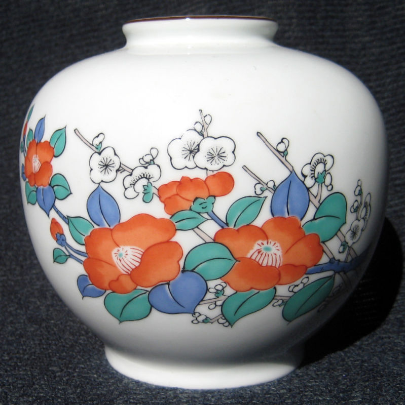 19TH C. JAPANESE PORCELAIN FUKAGAWA SIGNED ROUND VASE的图片