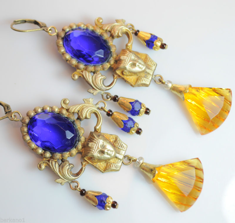 Old Czech Jewelry Blue Glass Egyptian Revival Dangle Earrings 1 DAY ONLY !!的图片