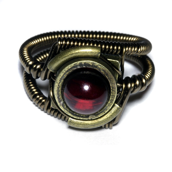 Steampunk Jewelry - Ring - Red Cherry Amber的图片