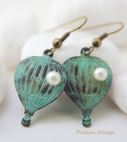 Fly with Me. Hot Air Balloon Earrings. Pearl. Gift For Her (VER-57)