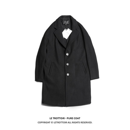 LE TROTTOIR PURE COAT 静黑毛呢大衣 极简百搭羊毛毛呢大衣男女