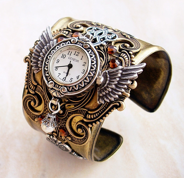 Steampunk Watch Cuff Mens Womens Brass Steampunk Jewelry