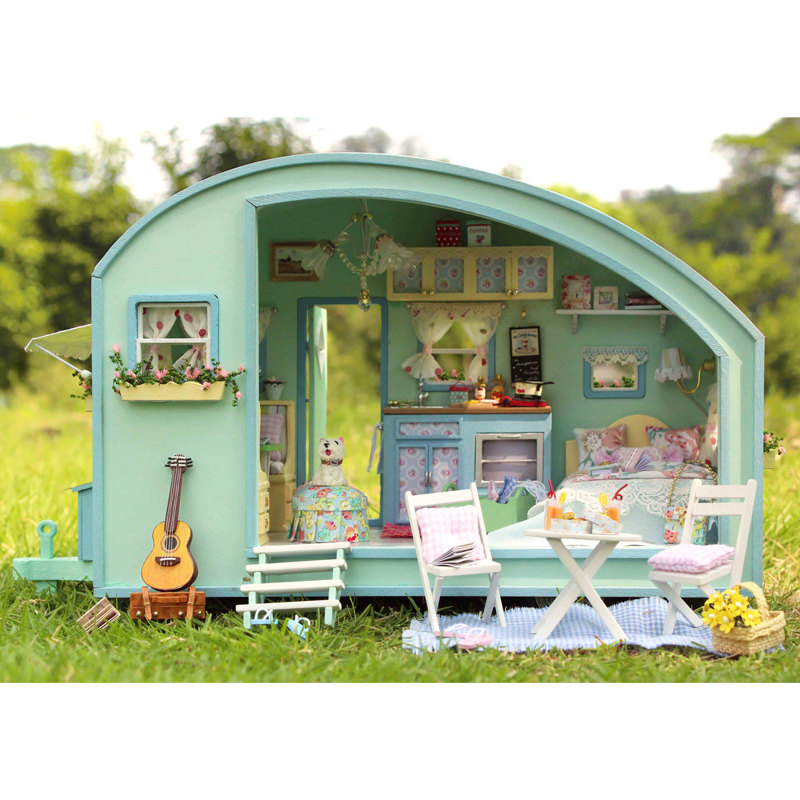 DIY Dollhouse Miniature Traveller Time Dollhouse Kit Handcraft Kit Birthday Gifts Kids Women Toy Assembly Dollhouse Mode