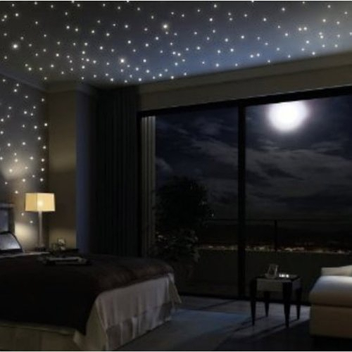 【星空夜光贴】Fuloon Huge Set of 798/285 Glows The moon Beautiful Faery in the Dark Stars and Stick Wall Decals