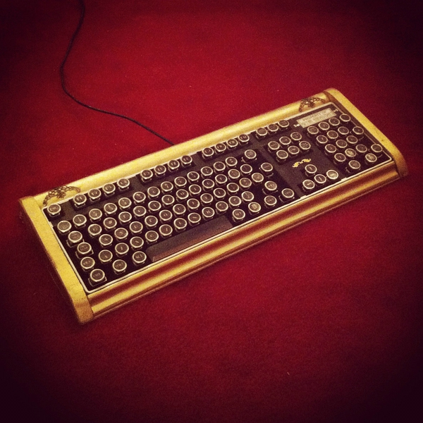 Fine Handcrafted Wood Bioshock Art Deco Steampunk Keyboard的图片