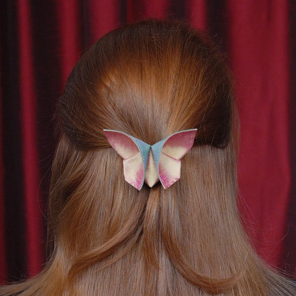 Silk Origami Butterfly Hair Clip Barrette Iridescent Peapod Green and Iridescent New Pink Gold Silks LARGE SIZE的图片