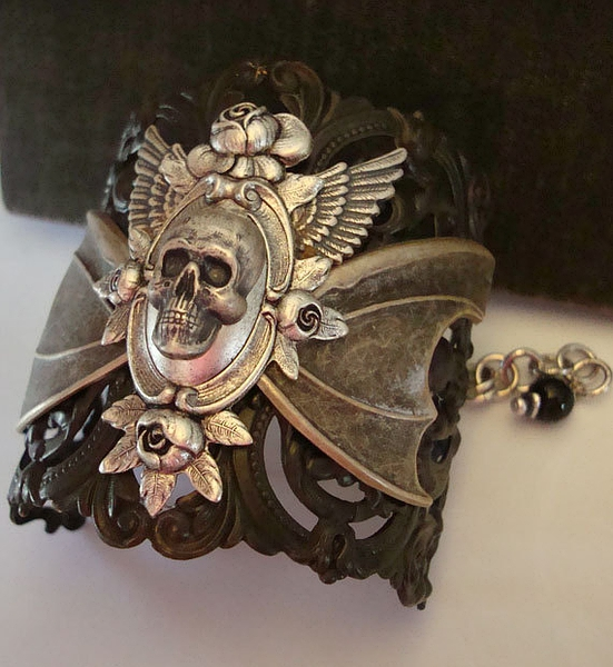 Gothic Love Story, Roses, Wings, and Skull Bracelet Cuff, Chain mail and Filigree Elements, Original and Hand Made