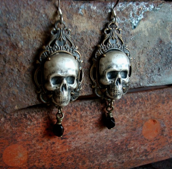 Gothic Human Skulls Silver Ox Earrings, IN WAITING, Gothic, Victorian, Jewelry