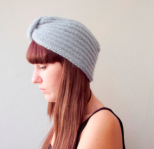 Hand knit hat beanie turban slouch for her的图片