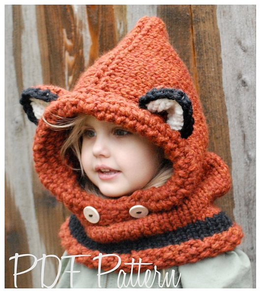 Knitting PATTERN-The Failynn Fox Cowl (12/18 months - Toddler - Child - Adult sizes)的图片