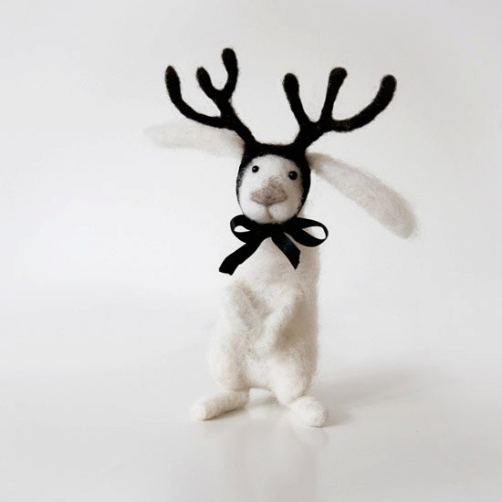 OREO polar rabbit with deer antlers, adorable handmade fantasy animal