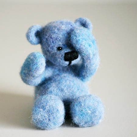 BLUEBERRY teddy bear, handmade little shy teddy from beautiful blue organic wool