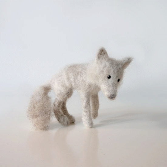 Waya the amazing arctic wolf - handmade animal from beautiful white and sliver - gray natural sheep wool