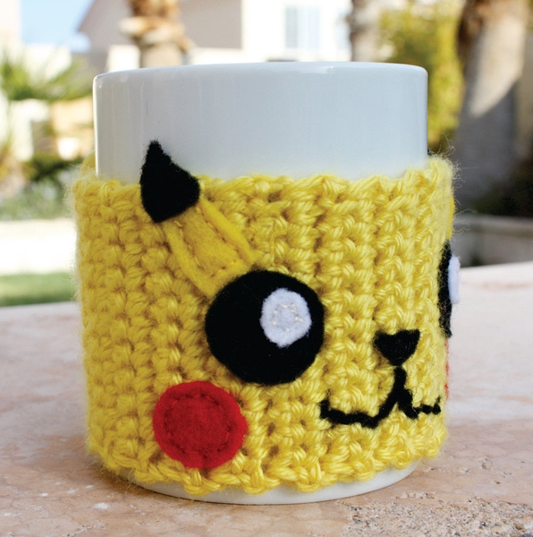 Pikachu Inspired Coffee Mug Tea Cup Cozy: Pokemon -ish Japanese Cartoon Crochet Knit Sleeve的图片