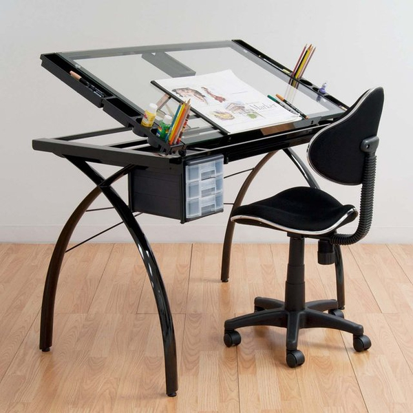 Futura Drafting Table with Glass Top的图片