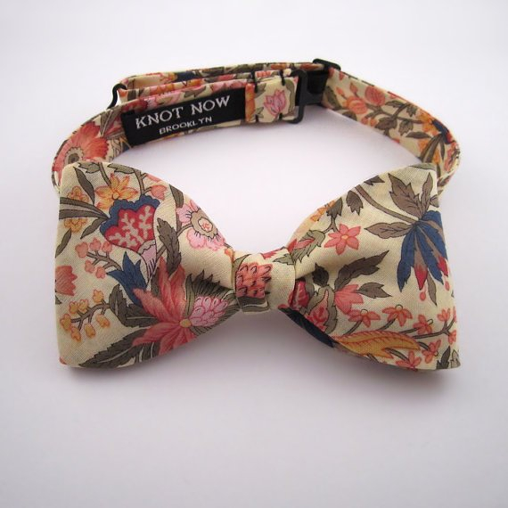 Men's Bow Tie Lemon Floral Cotton by KnotNowBowTies on Etsy