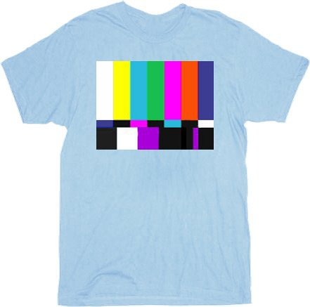 The Big Bang Theory Sheldon Test Pattern Light Blue Adult T-shirt (Adult Medium)