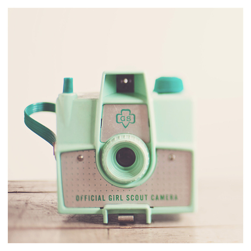mint green camera photograph, vintage camera photograph, retro, savoy, pastel, girl scout camera, color photography, sti的图片