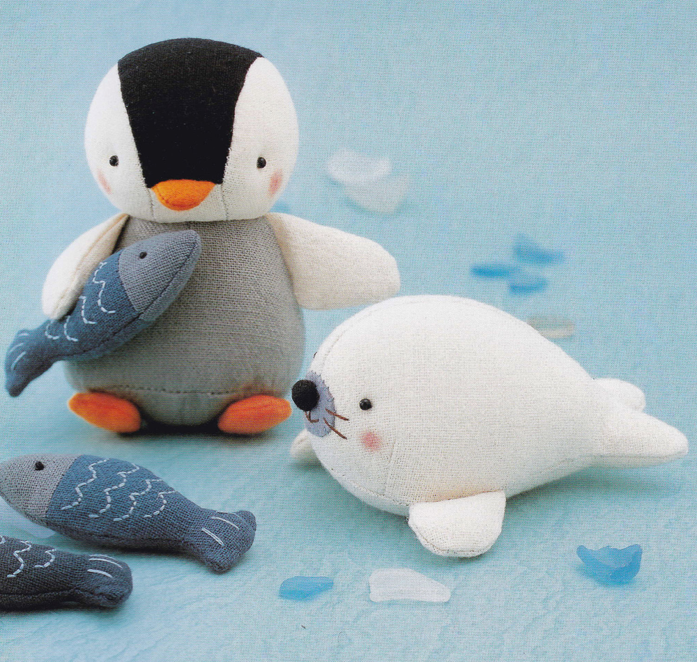 Cotton Linen Fabric Cute Penguin, Fish and Seal Animal Mascots Plush Stuffed Toy pdf Scaled E PATTERN in Japanese & Titl