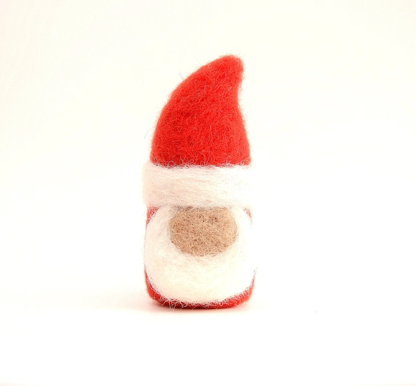 Needle Felted Santa gnome red white elf tomten holiday christmas decor
