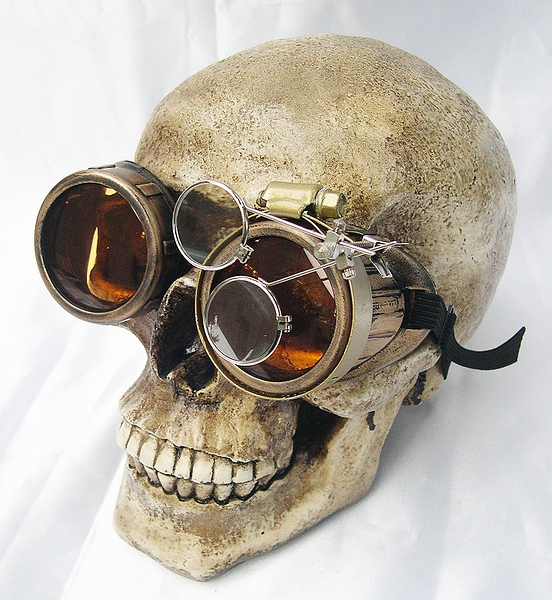 Steampunk Distressed - Look Cyber Welders GOGGLES with Removeable Magnifying EYE LOUPES - Antique Brass - Gold