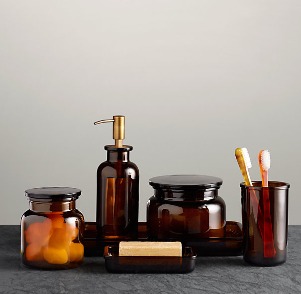 Amber Glass Pharmacy Bath Accessories
