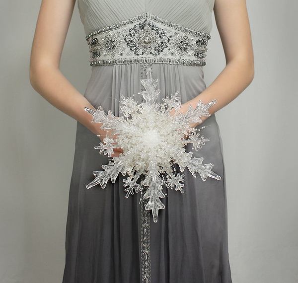 Wedding Flowers - Crystal Snowflake Bridal Bouquet - Winter or Christmas Wedding Bouquets - Fabulous Brooch Bouquet Alternative