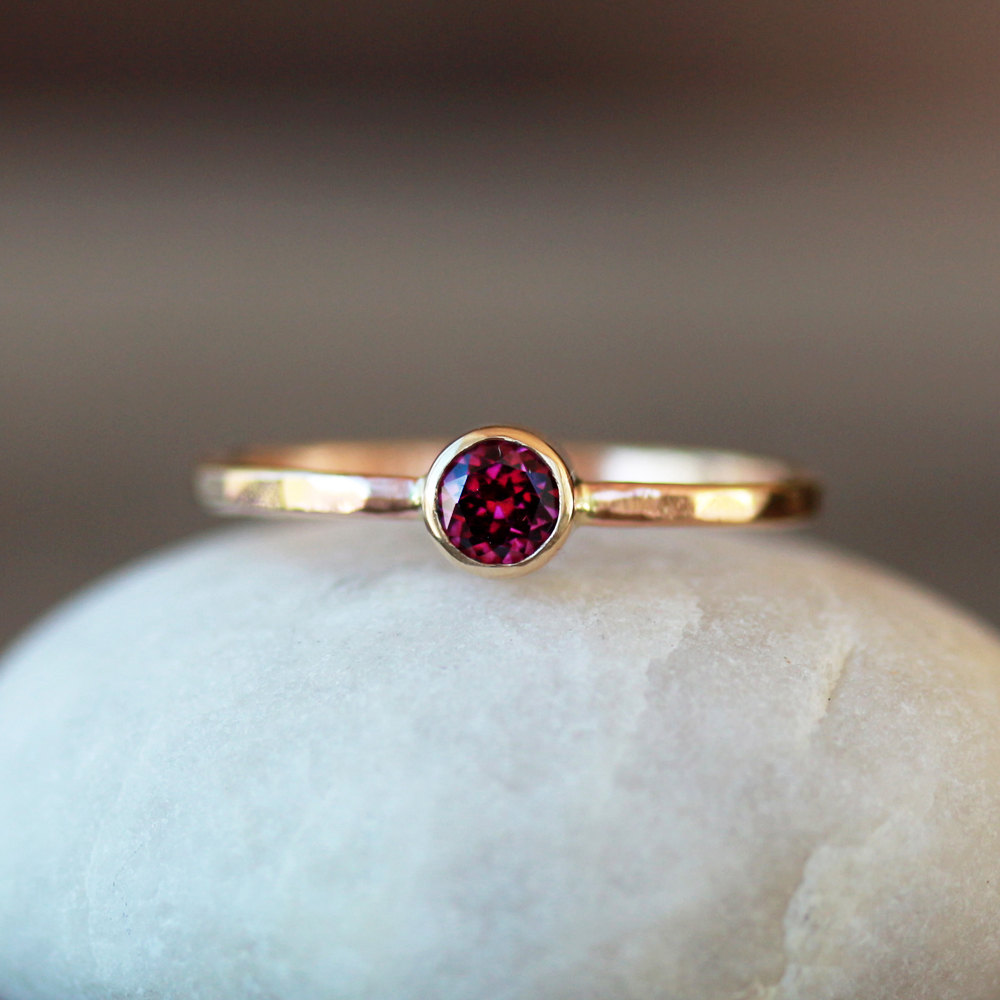 Rhodolite Garnet Ring 14k Yellow Gold