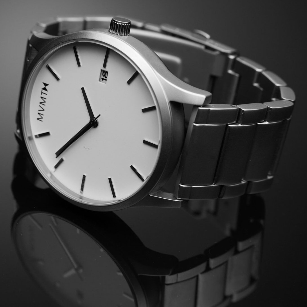 White on Silver Watch by MVMT - $100