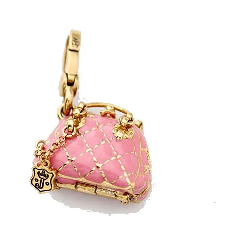 Juicy Couture - Pink Quilted Bowler Handbag - Gold Plated Charm的图片