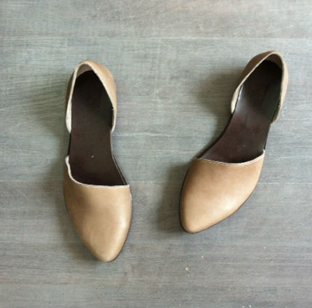 Mothers Day Sale Flat leather shoes, Designer comfortable shoes. Taupe leather flats. Great bridal flat shoes.