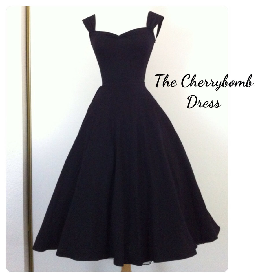 Black CHERRYBOMB Dress, Pin Up Party Dress, Retro Tea Length Full Circle Skirt, Mid Calf Length Summer Day Dress, Mod Ca