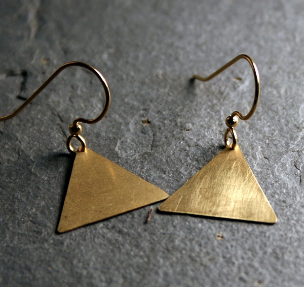 Geometric Jewelry : Triangle Earrings in Brass - simple dangle earrings