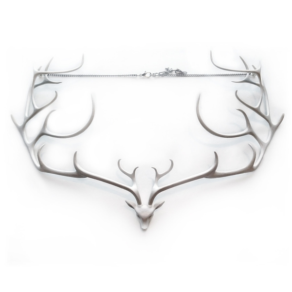 Deer Statement Necklace (White) - high fashion, unique, original design